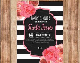 Invitation Baby Shower custom, Kate Spade, pink, stripes, Vintage, Digital, Invitation, printable