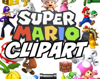 INSTANT DOWNLOAD: Super Mario Clipart , 25 Mario Party clip art PNG files