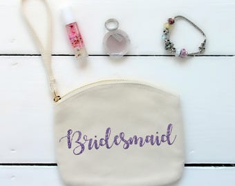 Bridesmaid Pouch with wrist strap, Bag for Bridesmaid, Bridesmaid Cosmetic Pouch with strap, Bridal Party, Wedding Accessory for Bridesmaid