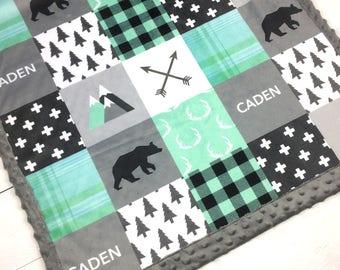 PERSONALIZED baby minky blanket, child blanket, mint gray lumberjack blanket woodland blanket, bear cuddle blanket, baby shower gift