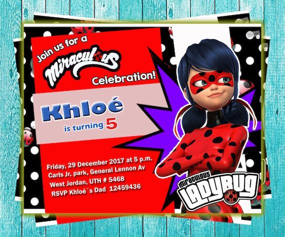 Invitación de Cumpleaños Ladybug Miraculous