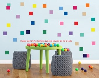 40 Vinyl Squares wall stickers, Removable Squares Wall decals, Square wall sticker, Geometric shape, nursery wall decal,pattern wall decal.