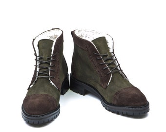 Women Handmade Balmoral Ankle Boots in Brown and Green Suede - Mocha Brown and Olive Green Suede