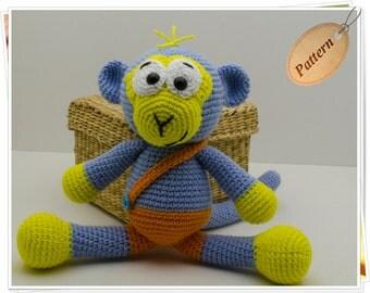 Crochet Monkey Pattern, Amigurumi Monkey Pattern, Monkey PDF Pattern, Monkey Tutorial, Blue Monkey, Monkey Toy Pattern, Monkey Doll Pattern