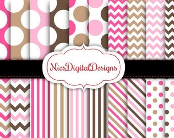 Buy 2 Get 1 Free-20 Digital Papers. 4 Tone Patterns in Pink and Brown (15A no 15) for Personal Use and Small Commercial Use Scrapbooking