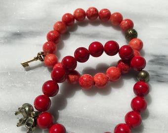 Dyed Jade Beaded Bracelet