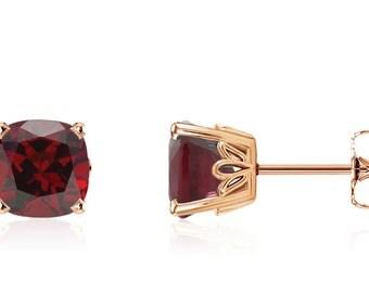 Pretty 100% 14K Rose Gold Cushion-Cut Genuine Red Garnet Gemstone Stud Earrings - 2.75ct - 6x6mm - January Birthstone - Gift For Her