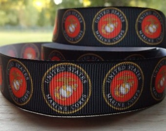 SALE USMC United States Marine Corp Ribbon 7/8 inch By the Yard-High Quality Large amount available BTY Military Quick Shipping!!