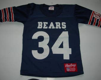 Vintage Chicago Bears Nfl Rawlings navy jersey youth small new without tags front back and sleeve print number 34