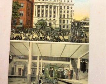 Vintage Postcard New York City Brooklyn Bridge Subway Station