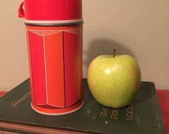 Vintage Red and Orange Thermos