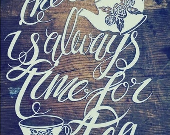 Tea papercut template, Commercial licence, always time for tea