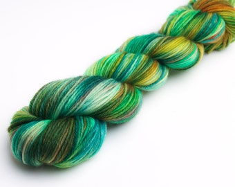 Hand dyed yarn 'Genie in a Bottle' 100g / hand dyed yarn / superwash/ indie dyer /DK yarn / sock yarn/ aran yarn / crochet / knitting