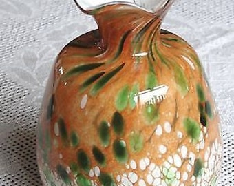 Beautiful Vintage MTARFA Malta Hand Blown Glass Vase