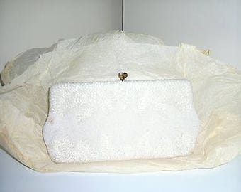 Vintage Twenty's Beaded Large Purse/Handbag - Ivory/White