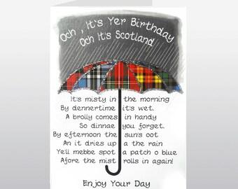 Scottish Birthday Card Umbrella WWBI73