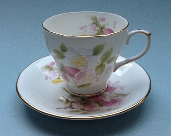 Royal Winchester tea cup and saucer, English porcelain, Foxglove, wild roses, tea cup and saucer