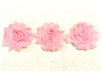 "Baby Pink Gorgeous Shabby Frayed Chiffon Flower Rosettes 3 x 2.5"", hair bands, clips, crafts etc"