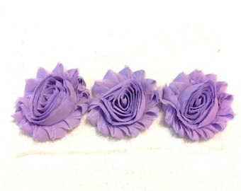 """Lilac Gorgeous Shabby Frayed Chiffon Flower Rosettes 3 x 2.5"""", hair bands, clips, crafts etc"""