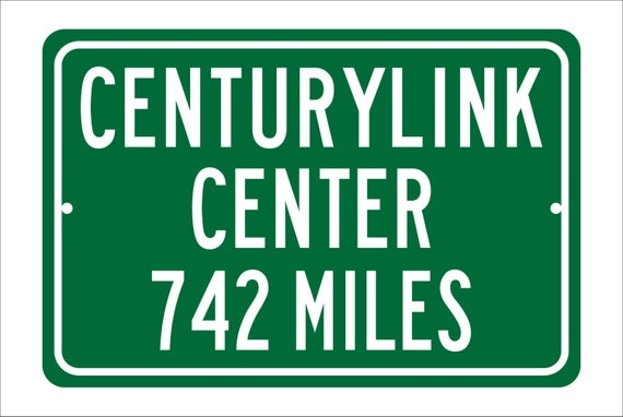 Custom College Highway Distance Sign to Centurylink Center | Home of the Creighton University Bluejays | Creighton Bluejays Basketball |