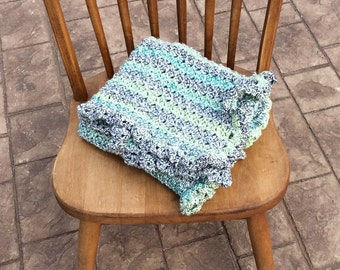 Green and Blue Multi Colored Crocheted Baby Blanket-Baby Shower Gift
