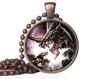 Teacher Dragon Pendant - Horned Dragon - Dragon Power Necklace - Dragon Pendant - Dragon Jewelry - Mythical Jewelry - Dragon Gift
