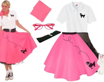 7 pc 50's Adult POODLE SKIRT Outfit-(S-XL)