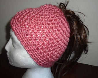 Handmade crochet dusty rose color Messy Bun/Ponytail beanie hat
