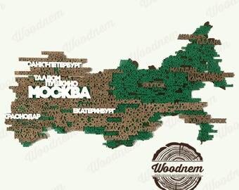 3D карта России из дерева. Wooden map
