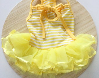 Yellow stripe tulle dress / Yellow tutu dress for rabbits, dogs and small pets