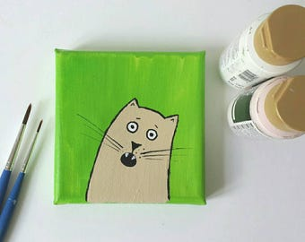 Mini painting, tiny canvas, cat portrait, acrylic painting, cat lover, nursery decor, cat collectible, funny cat, wall art, original artwork
