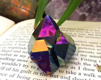 Cute Titanium Rainbow Flame Aura Quartz cluster