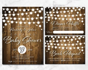 Couples Baby Shower Invitation | String Lights | Baby Q | Rustic Baby Shower | Baby BBQ | BabyQ Invitation | Wood | Co-ed Baby Shower Invite