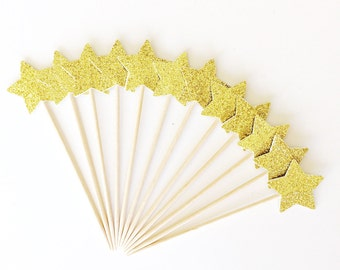 Gold Star Cupcake Topper