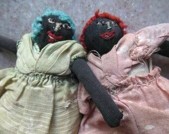 Antique Black Americana Cloth Twin Sister Dollhouse Doll Pair