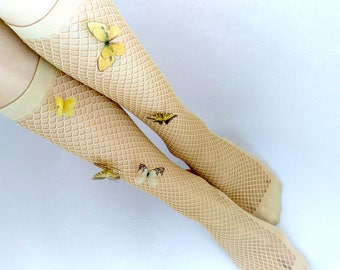 Over the Knee Socks with Butterflies for Spring-Summer Walking, Fluttering Butterflies, Butterflies, Over the Knee Socks for Fairy Lady
