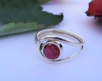 Ruby Ring, Pure 925 Sterling Silver Ring, Boho Ring, July Birthstone Ring, Silver Ruby Ring, Ruby Ring, Promise Ring