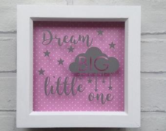 Baby girl or boy Dream Big Little One frame. New baby gift. Christening gift. Baby shower gift