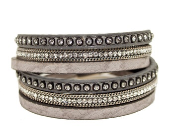 Rhinestone & Chain Double Wrap cuff - Grey - 3 strands on vegan leather with magnetic clasp finish
