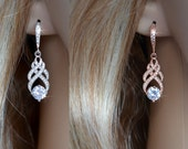 Choose Your Colour -- Handmade Vintage Inspired Cubic Zirconia CZ Dangle Earrings, White or Rose Goldplate, Bridal, Wedding (Sparkle-2715)