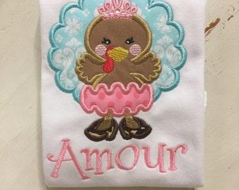 Baby Girl Thanksgiving Shirt Onesie // Princess Turkey Thanksgiving Shirt Onesie // Thanksgiving Bodysuit // Thanksgiving Girl Onesie