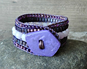 Beaded Leather Cuff Bracelet. 5 Row Cuff Bracelet. Boho Cuff. Cuff Bracelet. Leather Cuff. Beaded Leather Wrap Bracelet. Bead Bracelet.