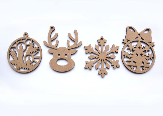 Christmas toys 4 wooden Wood craft shape Christmas shapes Unfinished wood New Year wood shapes Ready to decorate Wooden decor