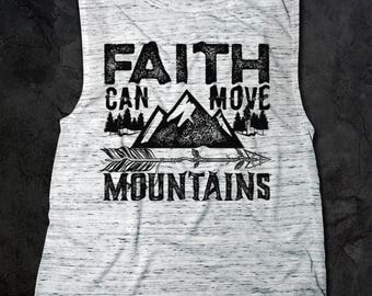 Faith can move Mountains Flowy Scoop Muscle Tank