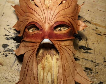 Leather mask greenman