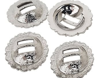 """Set of 4 pcs 1-1/4"""" Saddle Bright Silver Round Slotted Berry Concho"""