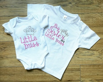 Big Sister, Little Miss, Little Sister, sisters, siblings, baby girl, new big sister gift, baby gift, baby vest, sister vest, sister t-shirt