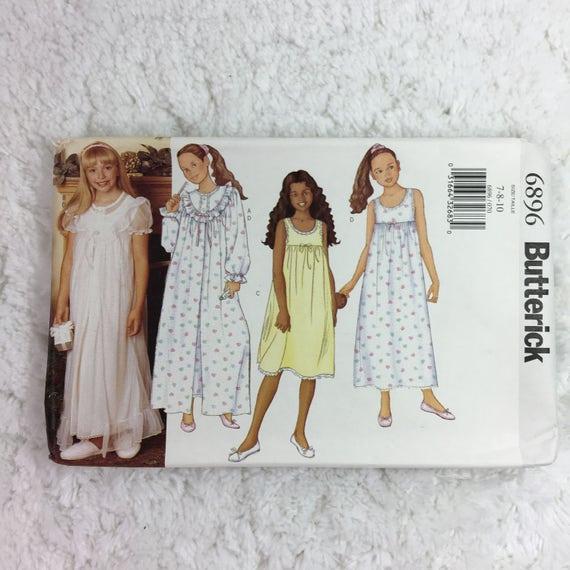 Bata y camisón talla 7-10 Butterick 6896 costura patrón niñas ...