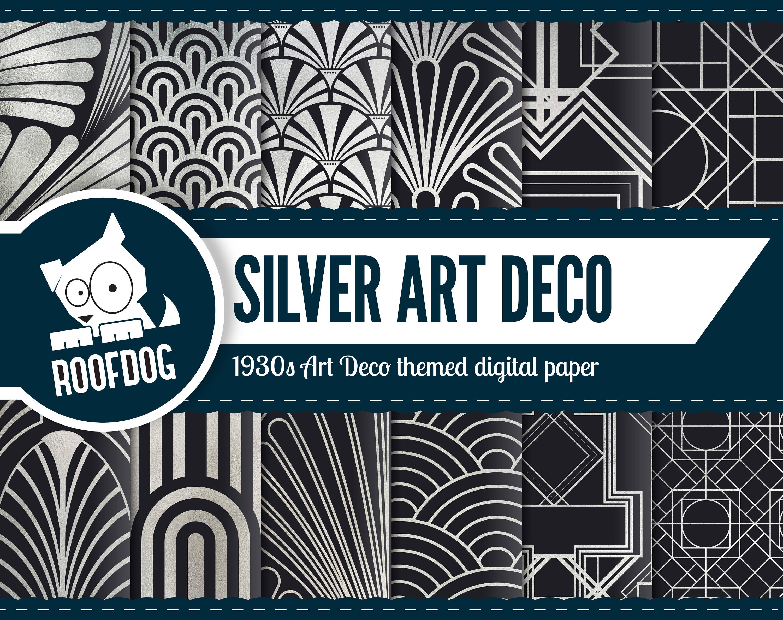 Art Deco Silver Foil Digital Paper