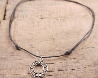 Moon Choker necklace, moon phase necklace, moon jewelry, bohemian jewelry, adjustable choker necklace, pendant necklace, hippie grunge